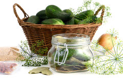 Homemade cucumbers in jar glass with herbs like dill and onions Royalty Free Stock Image