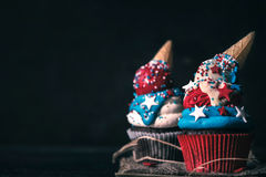 Homemade cup cakes with USA decoration Stock Photo
