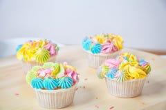 Homemade cupcake with cream royalty free stock photo
