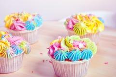 Homemade cupcake with cream stock photos