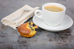 Homemade cupcake and a mug of coffee Royalty Free Stock Image