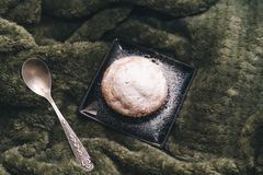 Homemade cupcake with powdered sugar on a black plate and a teaspoon on a background of green textiles. stock photography