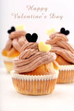 Homemade cupcake for Valentine Day with inscription Stock Images