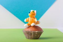 Homemade cupcakes on a colored background. Selective focus Stock Photo