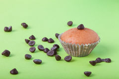 Homemade cupcakes on a colored background. Selective focus Royalty Free Stock Images
