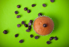 Homemade cupcakes on a colored background. Selective focus. Tone Stock Photos