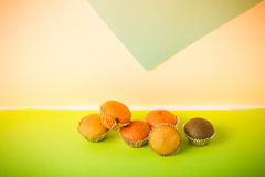 Homemade cupcakes on a colored background. Selective focus. Tone Royalty Free Stock Images