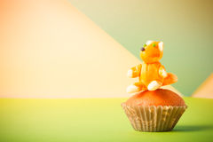 Homemade cupcakes on a colored background Stock Photo