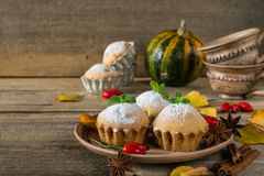 Homemade cupcakes with powdered sugar with cinnamon sticks, anise stars, pumpkins, berries of rosehip and autumn leaves Royalty Free Stock Images