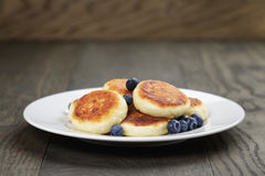 Homemade curd fritters on plate with berries Royalty Free Stock Image