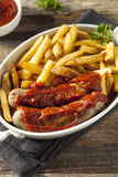 Homemade Currywurst and French Fries Royalty Free Stock Image