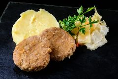Homemade cutlet and mashed potatoes royalty free stock images