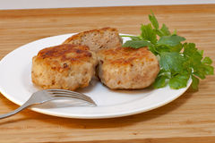 Homemade cutlets and fresh parsley Royalty Free Stock Photos