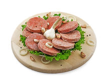 Homemade cutlets. With spices on a wooden tray Royalty Free Stock Photo