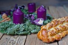 Homemade Czech Christmas cake with an advent wreath stock photos