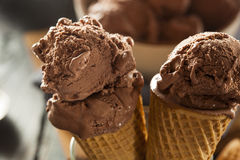 Homemade Dark Chocolate Ice Cream Cone Stock Image