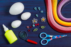 Homemade decor Easter eggs in the technique of quilling. Step 2 Royalty Free Stock Image