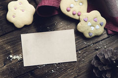 Homemade Decorated Cookies With Paper Card On Wooden Table. Royalty Free Stock Photography