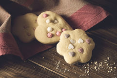 Homemade Decorated Cookies On Wooden Table. Royalty Free Stock Photos