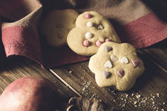 Homemade Decorated Cookies On Wooden Table. Royalty Free Stock Photography