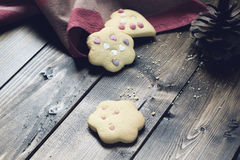 Homemade Decorated Cookies On Wooden Table. Stock Photo