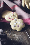 Homemade Decorated Cookies On Wooden Table. Stock Image
