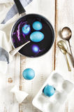 Homemade decoration eggs natural way. Royalty Free Stock Photography