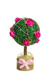 Homemade decorative tree with pink roses. Decorative tree made of wool and cloth roses Royalty Free Stock Images