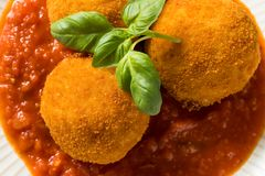 Homemade Deep Fried Risotto Arancini royalty free stock image