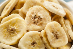 Homemade Dehydrated Banana Chips Stock Images
