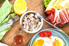 Homemade delicious american breakfast on dark wooden table. royalty free stock images