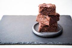 Homemade Delicious Chocolate Brownies. closeup chocolate cake stock photography