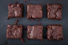 Homemade Delicious Chocolate Brownies. closeup chocolate cake royalty free stock images