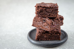 Homemade Delicious Chocolate Brownies. closeup chocolate cake royalty free stock photography