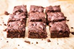Homemade Delicious Chocolate Brownies. closeup chocolate cake royalty free stock photos