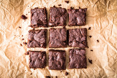 Homemade Delicious Chocolate Brownies. closeup chocolate cake Stock Image