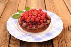 Homemade delicious chocolate cake with fresh wild raspberries an Stock Photo