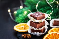 Homemade delicious chocolate fudge pieces with sea salt. Close up royalty free stock photography