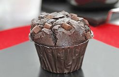 Freshly chocolate piece muffin stock images