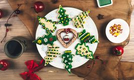 Delicious Christmas gingerbread cookies. Royalty Free Stock Photography