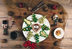 Delicious Christmas gingerbread cookies. Stock Image