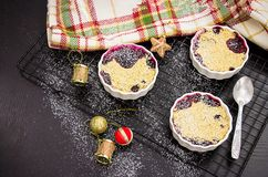 Homemade delicious crumble with berries in portioned individual stock photos