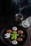 Homemade delicious ginger biscuits for Halloween Stock Photography