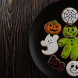 Homemade delicious ginger biscuits for Halloween Stock Images