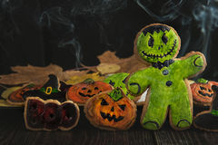 Homemade delicious ginger biscuits for Halloween Royalty Free Stock Photo
