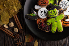 Homemade delicious ginger biscuits for Halloween Stock Photos