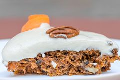 Delicious and healthy Vegan Carrot cake slice against isolated background, happy birthday