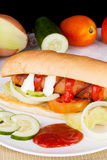 Homemade Delicious Hotdog sandwich. Picture of Homemade Delicious Hotdog sandwich Royalty Free Stock Photo