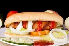Homemade Delicious Hotdog sandwich. Picture of Homemade Delicious Hotdog sandwich Stock Photo