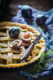Homemade and delicious plum pie made of fresh ingredients Stock Photo